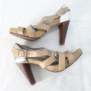 Cole Haan 6.5 Strappy Heels Sandals Silver Tan